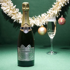 Christmas Personalised Champagne With Pewter Label