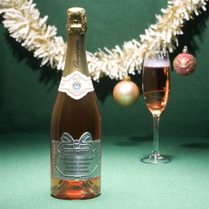 Christmas Personalised Rose Champagne With Pewter Label - food gifts