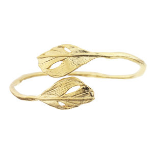 18k Gold Plated Swan Feather Bangle