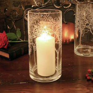 Glass Tree Etched Hurricane Candle Holder - table decorations