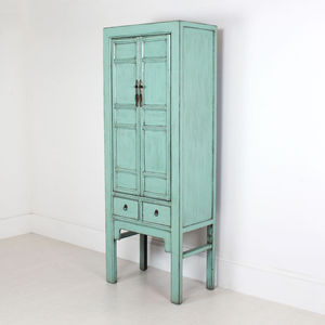 Tall Distressed Cabinet In Blue - furniture