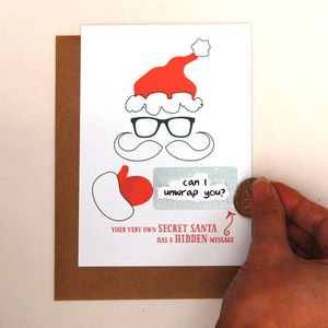 Write Your Own Hidden Message Secret Santa Card - christmas cards