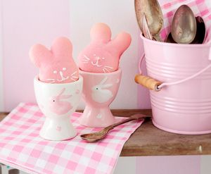 Pink Or White Ceramic Bunny Egg Cup - egg cups & cosies