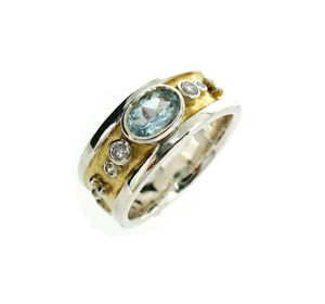 Silver And Gold Blue Topaz Drum Ring - birthstone jewellery gifts