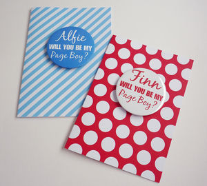 Be My Pageboy Card With Badge - wedding cards & wrap