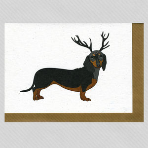 Illustrated Black Dachshund Deer Blank Card - seasonal cards