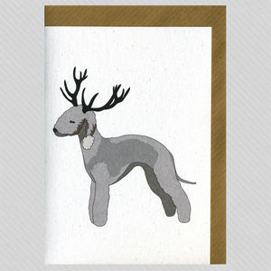 Illustrated Deer Bedlington Blank Card