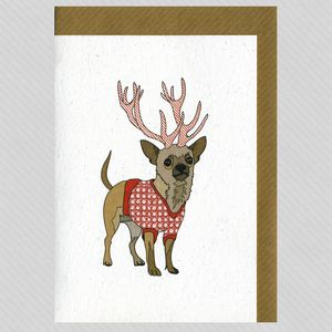 Illustrated Deer Chihuahua Blank Card