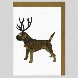 Illustrated Grizzle Border Terrier Deer Blank Card