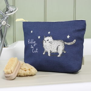 Grumpy Cat Navy Organic Cotton Wash Bag - wash & toiletry bags