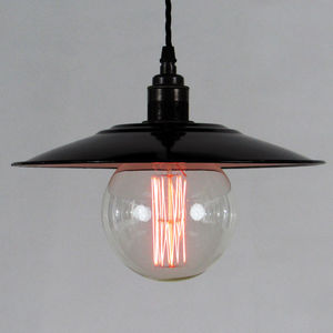 European Enamel Shade And Decorative Bulb - lighting