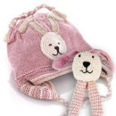 Organic Bunny Motif Hat With Earflaps For Boy And Girl