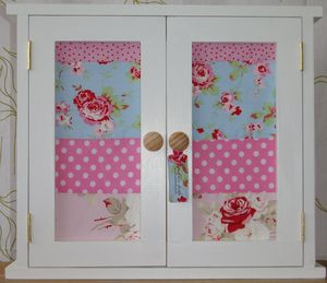 Children's Handcrafted Wall Cabinet With Fabric Doors
