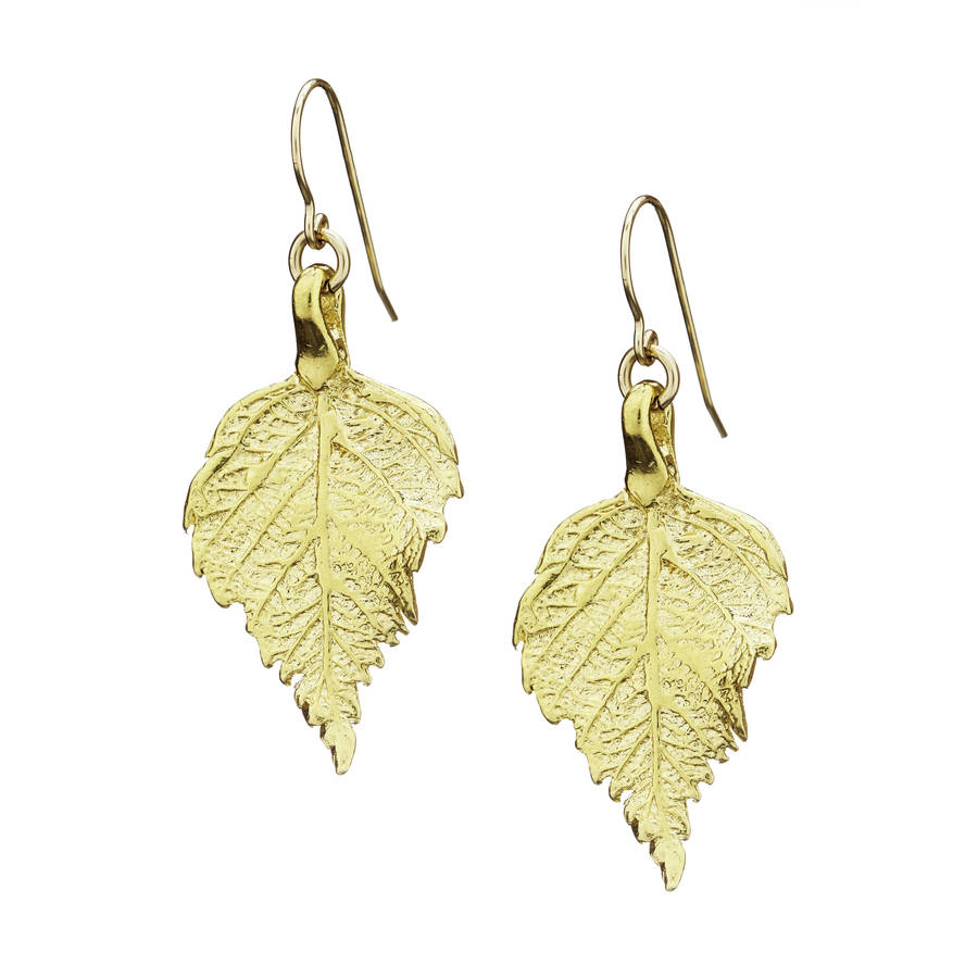 tiny the sweetest thing raspberry leaf earrings in gold by