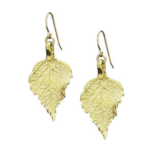 18k Gold Plated Raspberry Leaf Earrings - earrings