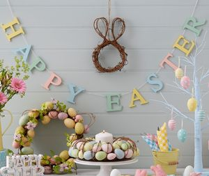 Wooden Happy Easter Garland - easter decorations
