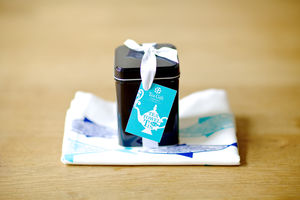 Blue Fish Tea Towel In A Tin