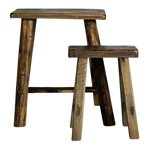 Narrow Wooden Stools Set Of Two