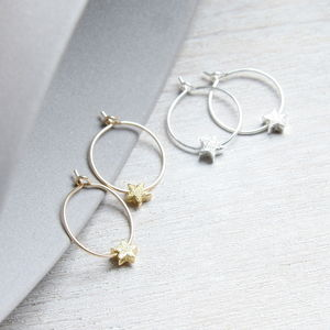 Petite Star Hoop Earrings - christmas parties & entertaining