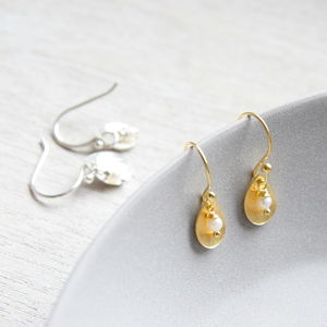 Brushed Leaf And Freshwater Pearl Earrings - earrings