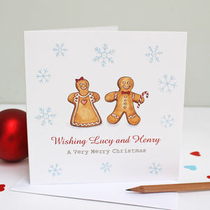 Personalised Gingerbread People Christmas Card - summer sale