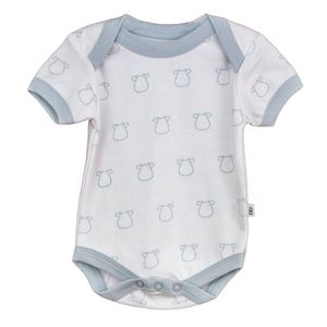 Blue Cow Outline Short Sleeve Bodysuit - clothing