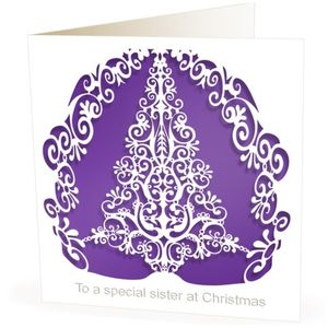 Christmas Card Laser Cut Tree For Sister