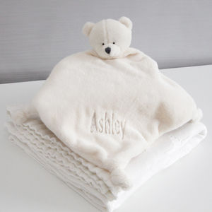 Personalised Teddy Velour Baby Comforter - baby care