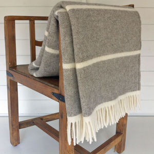Broad Stripe Wool Blanket - blankets & throws