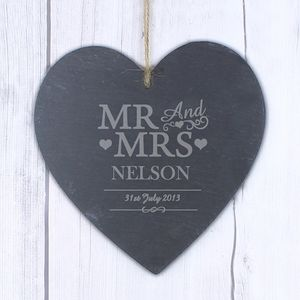 Mr And Mrs Personalised Slate Heart