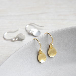 Brushed Leaf Precious Metal Earrings