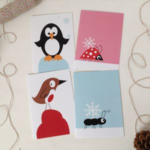 Penguin, Robin, Ant And Ladybird Christmas Card Pack