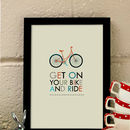 'Get On Your Bike' Personalised Art Print