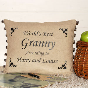 World's Best Granny Cushion Monotype - personalised cushions