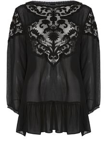 Clara Embroidered Viscose Georgette Top - women's fashion