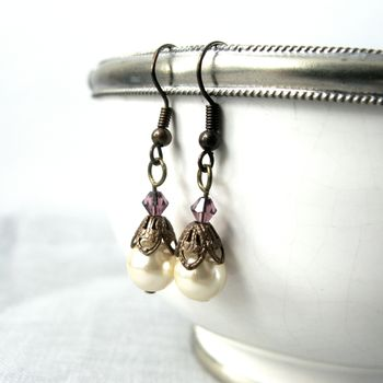 Vintage Filigree And Pearl Earrings
