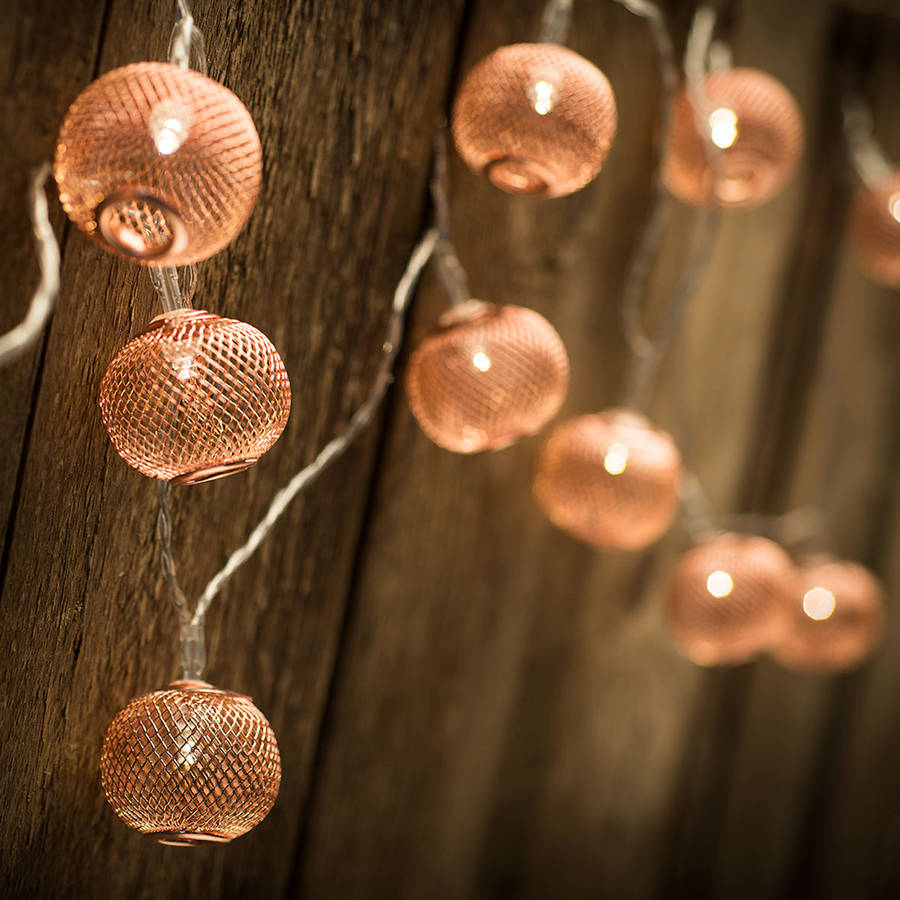Copper String Lights Down To The Woods : copper lanterns battery operated led light chain by spotted notonthehighstreet.com