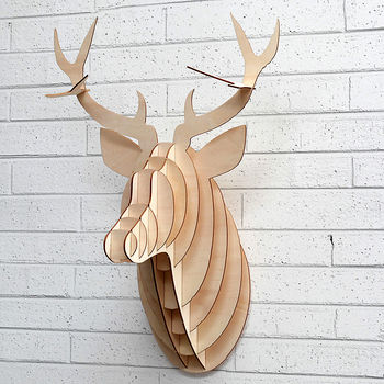 Laser Cut Wooden Stag Head Trophy