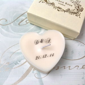 Personalised Initial Wedding Heart Favour Candle - table decorations