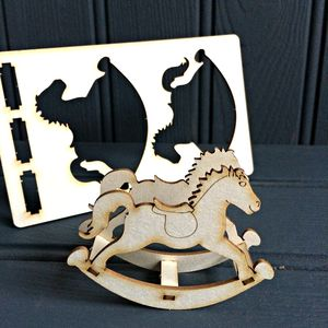 Lasercut 'Pop Out' Rocking Horse Card