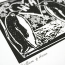 Linocut Penguin Etching wall art