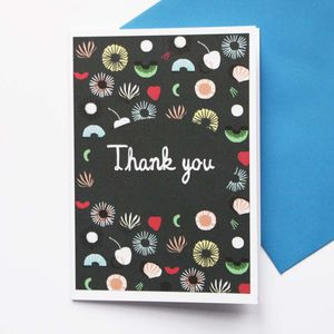 Set Of Eight Seaflower Thank You Cards