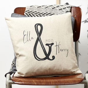 Personalised Ampersand Valentine Cushion - 4th anniversary: linen
