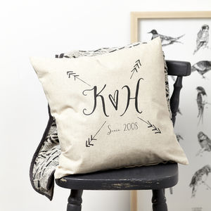 Personalised Love Arrows Cushion - 2nd anniversary: cotton