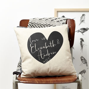 Personlised Heart Valentines Cushion - bedroom