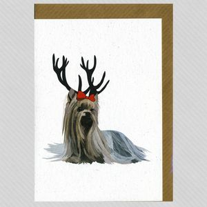 Illustrated Deer Yorkshire Terrier Blank Card