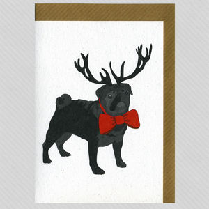 Illustrated Black Pug Deer Blank Card - cards & wrap