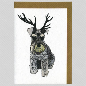 Illustrated Deer Schnauzer Blank Card - all purpose cards