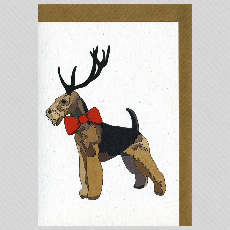 Illustrated Airedale Deer Blank Card