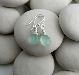 Sea Green Quartz Gemstone Drops - earrings
